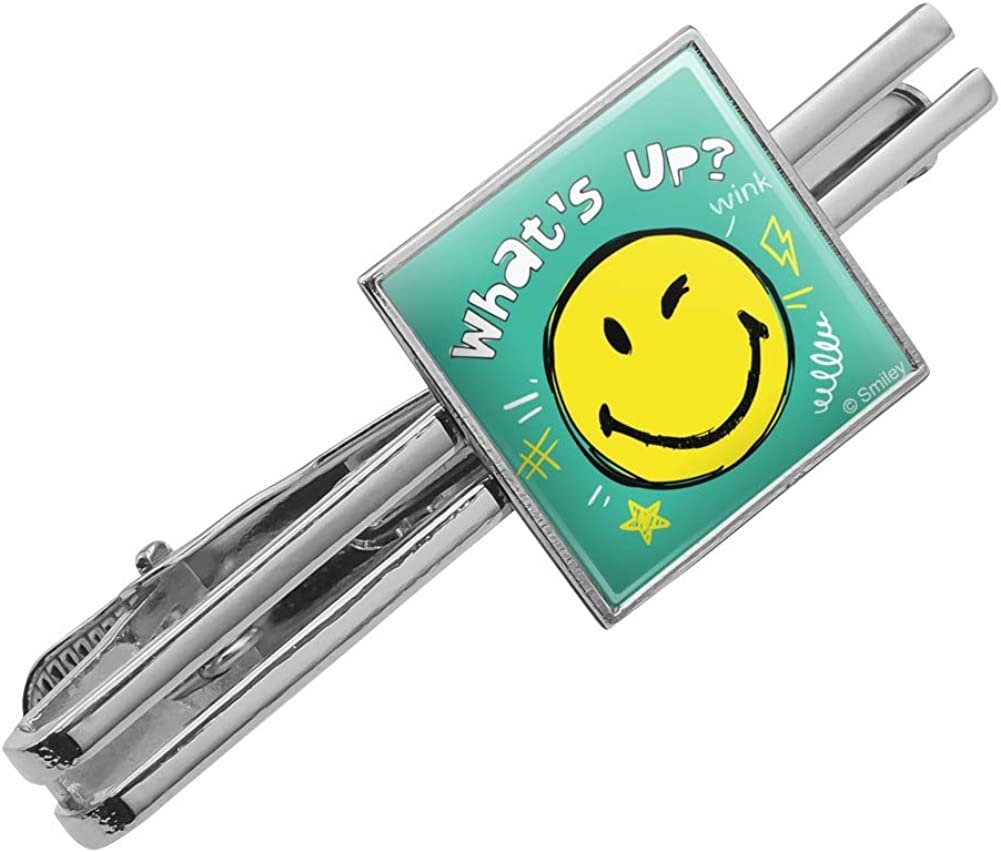 Silver or Gold GRAPHICS /& MORE Whats Up Winky Smiley Face Emoticon Officially Licensed Square Tie Bar Clip Clasp Tack