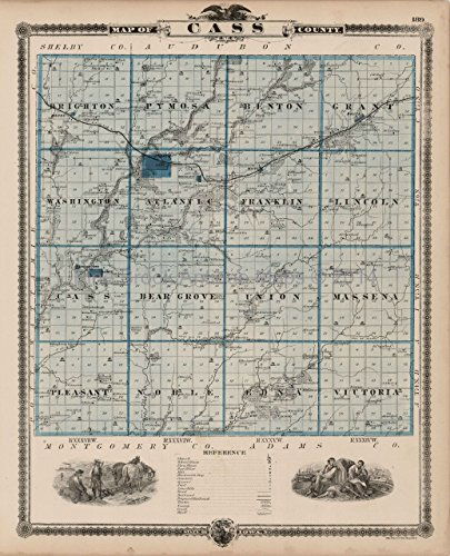 - Cass County Iowa Map Antique Andreas 1875 Authentic Decor History Ancestry Housewarming Gift