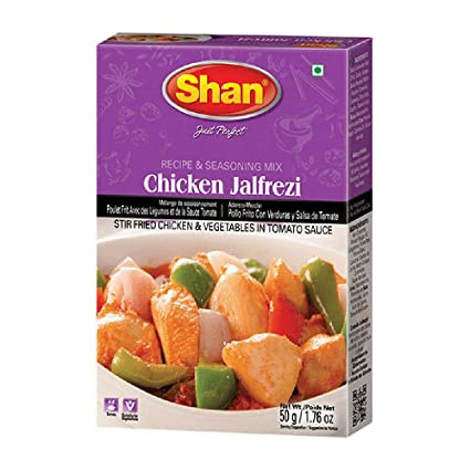 Amazon Com Shan Chicken Jalfrezi Recipe And Seasoning Mix 1 76 Oz 50g Spice Powder For Stir Fried Chicken And Vegetables In Tomato Sauce Suitable For Vegetarians Airtight Bag In
