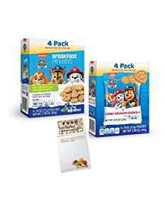 Kids Animal Crackers Breakfast On the Go Bundle - Paw Patrol Breakfast Bites Box each of Blueberry and Honey Graham Accompanied with Snack Time Fun Grocery List Magnet for Refrigerator