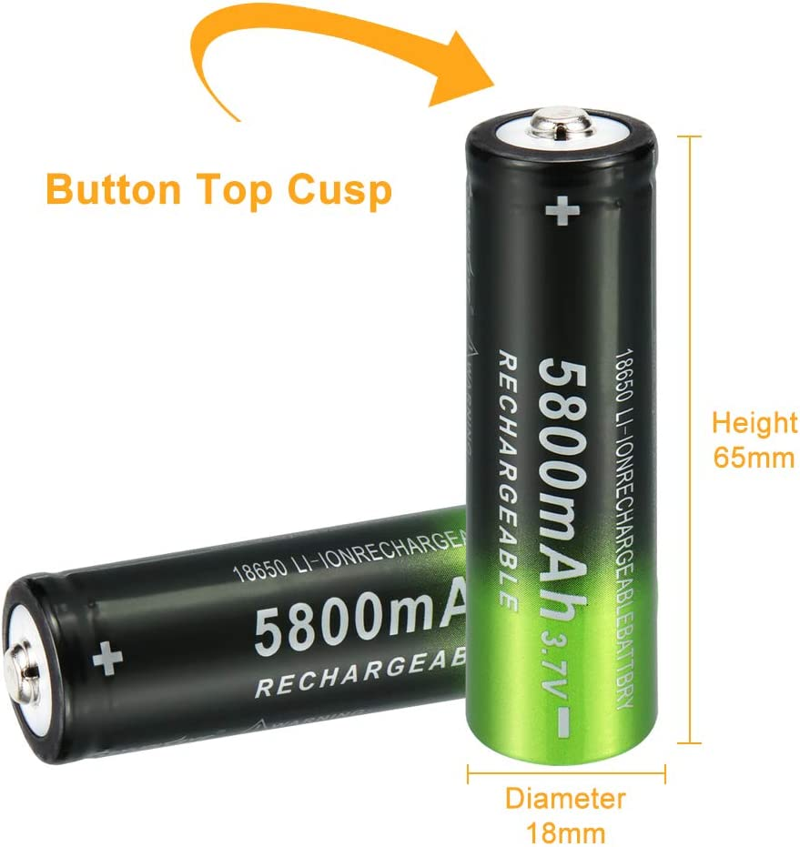 3.7V 5800mAh Rechargeable Battery,Button Top Batteries,10 Pack