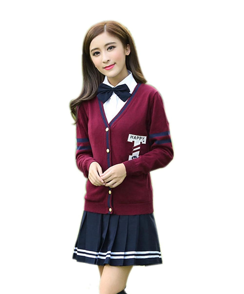 Womens British Style Knit Sweater School Uniform Set (XXL, Wine Red) by Generic