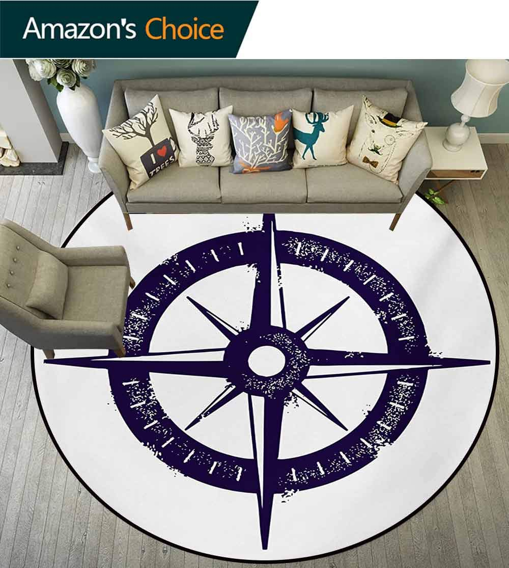 RUGSMAT Compass Round Rug,Sailing Compass with A Giant Symbol On with A Windrose Dark Purple Tones Carpet Door Pad for Bedroom/Living Room/Balcony/Kitchen Mat,Round-63 Inch Dark Purple White by RUGSMAT (Image #3)