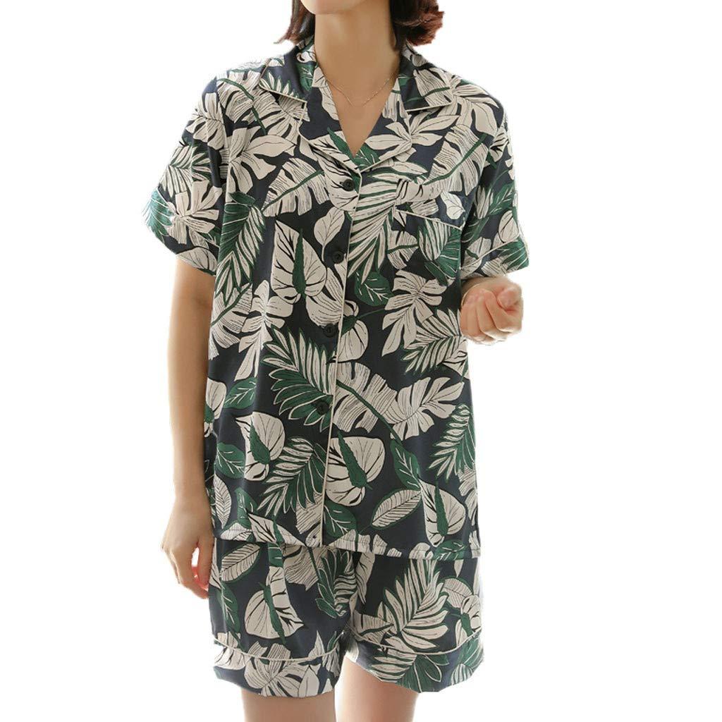 Huifa Women Plus Size Printing Pattern Pajamas Short Sleeve Sleepwear Nightwear Short Set (Navy,L)