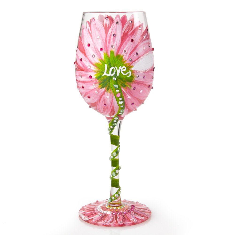 "Designs by Lolita ""Mom's Love in Bloom"" Hand-painted Artisan Wine Glass, 15 oz."