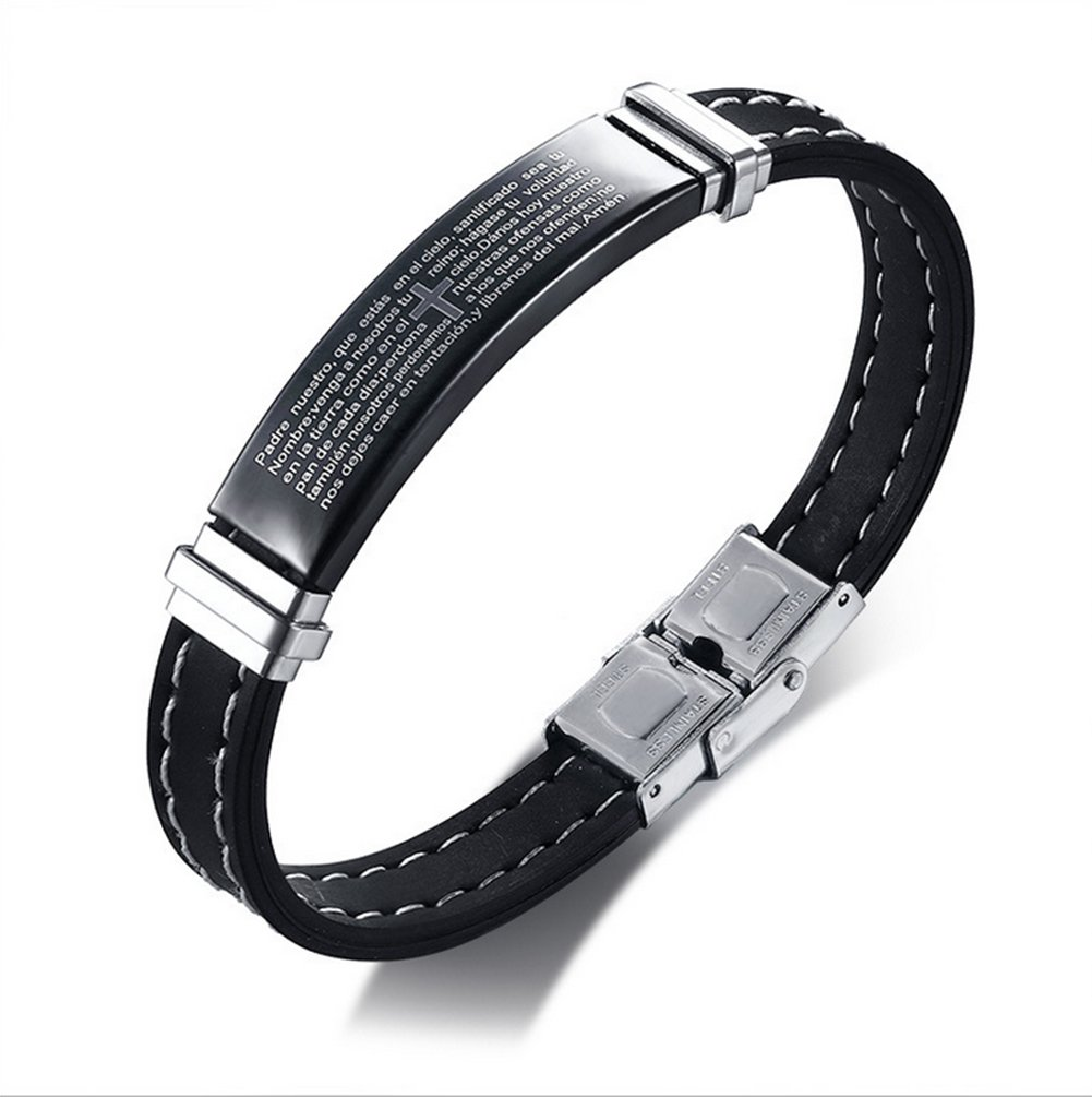 AIUIN Schmuck Armband für Männer, Biker Armband, Gummi-Edelstahl,Kreuz Englische Schriften,mit Einer Schmucktasche