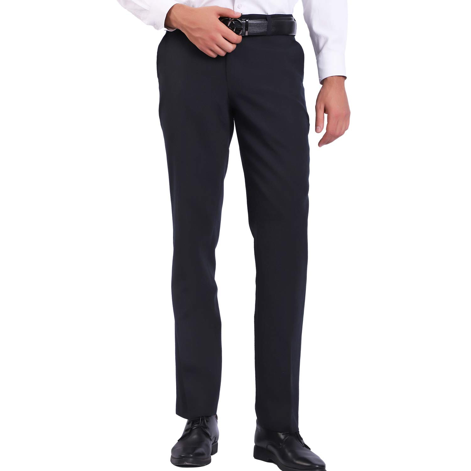AIOUTAO Mens Dress Pants Slim Fit Black Trousers for Men Flat Front Flex Work Business Casual Pant Boys