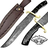 Buffalo Horn 17'' Fixed Blade Custom Handmade Damascus Steel Bowie Hunting Knife Brass Bolster Spacers Unique Beautiful File Work On Handel Come with Leather Sheath 100% Prime Quality