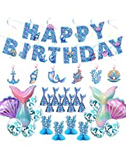 Mermaid Birthday Party Decorations for Girls, all-in-one Mermaid Party Supplies Kit in Blue with Happy Birthday Banner/Balloons Photo Prop/Hanging Swirl Decors, etc.
