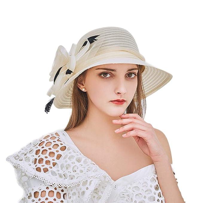 5200d843 Eanny Womens Kentucky Derby Church Sun Hat Wide Brim Wedding Tea Party  Beach Hat (Beige