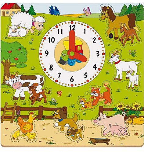 Woodyland Farm Animals Puzzle with Clock (8-Piece) 93023