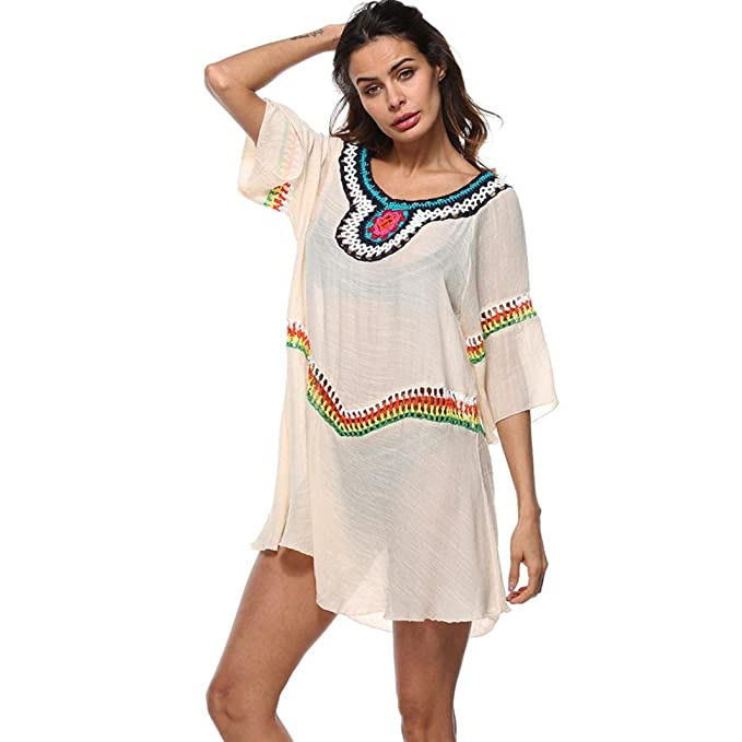 9c8d215b0d HOMEBABY Women Vintage Beach Cover Up - Girls Beach Dress Bikini Swimwear  Beach Swimsuit Smock Sunscreen Shirt Holiday Knitted Crochet Cover UPS  Summer ...