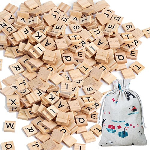 Scrabble Wooden Tiles, 500 Letter New Complete Set Scrabble Wood Tiles Alphabet Piece Pendants Wooden Scrabble for Crafts Scrapbooking Bulk Letter Tiles Name Tag Scrabble Word Tiles by Meiso