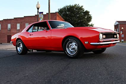 Amazon Com Chevy 68 Camaro Right Front Orange Hd Poster Muscle Car
