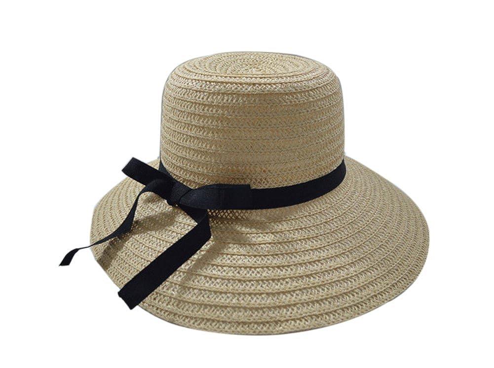 Leisial Ocio Gorra de Playa Sombrero para el Sol Paja de Protector Solar Sombrero Gancho de Mano Color Sólido Verano para Mujer A195401I1UHI106