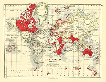 Map Of The World 1920.British Empire Post Ww1 World Mercator Steamship Routes Johnston