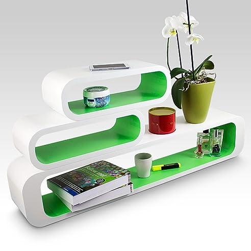 Wandregalsystem küche  3er SET Wandregalsystem OVAL Wandregal Würfel Cube Wandboard Retro ...