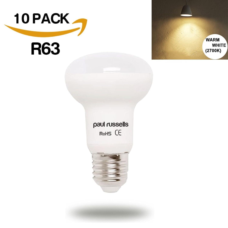 10 Pack 8W Reflector LED Light Bulbs E27 ES Edison Screw Paul Russells Bright 8W=65W Spotlight R63 Spot Light 270 Beam Lamp 2700K Warm White 65W Incandescent Replacement