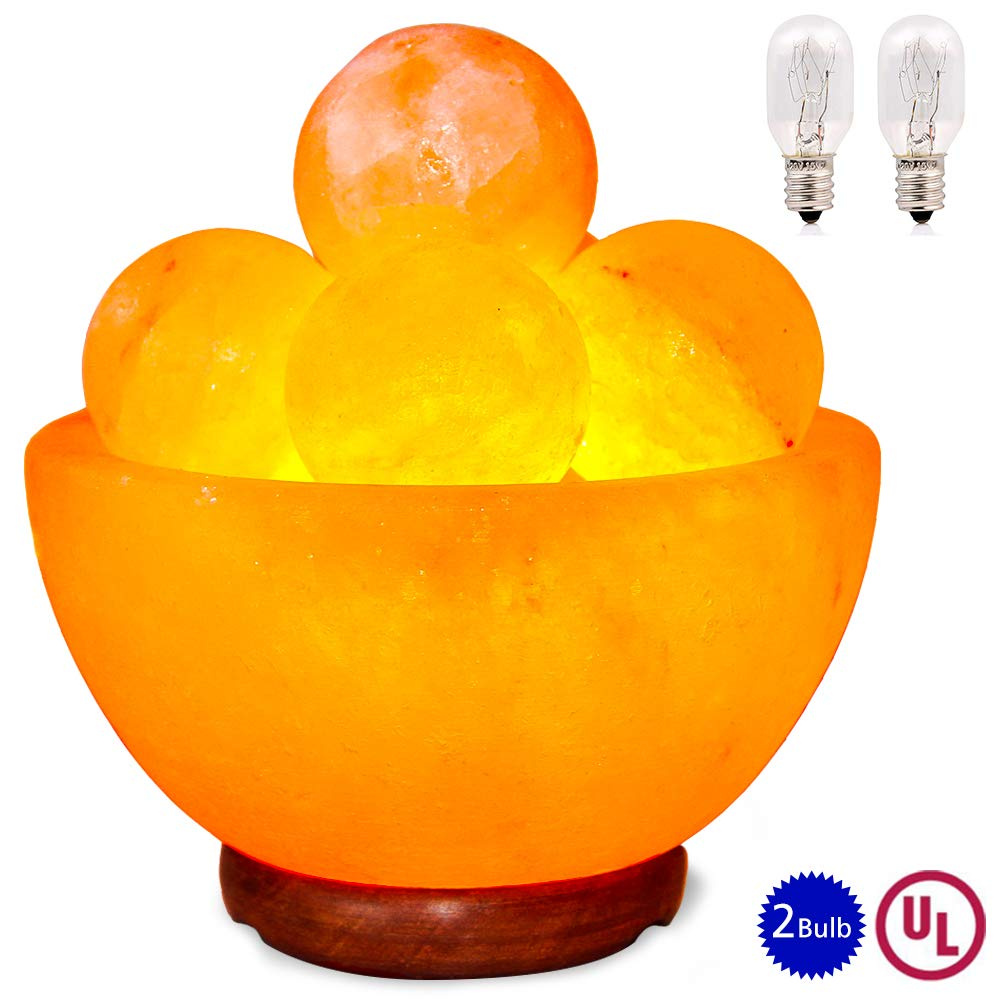pursalt Himalayan Massage Salt Lamp Bowl with 5 Massage Balls Hand Carved Taly Wood Base Pink Crystal Rock Salt for Air Purifying, Home Décor, Gifts, Extra Replacement Bulb, Salt Lamp Night Light by pursalt