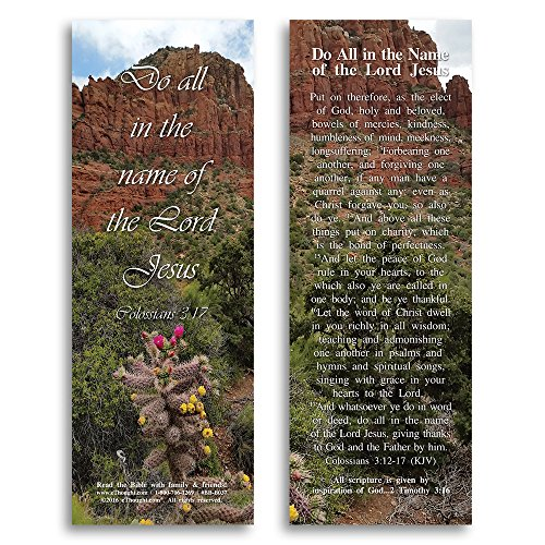 Bible Verse Cards, by eThought – Colossians 3:17 - Do All in the Name of the Lord Jesus - Pack of 25 Bookmark Size Cards for reading, study, gifts and encouragement.