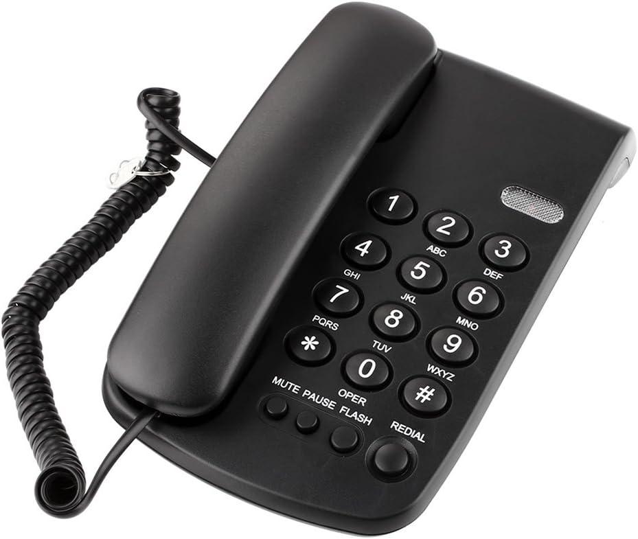 Auntwhale Inglés Teléfono Oficina Hotel Fijo Oficina fija/Hotel/Inicio - Negro