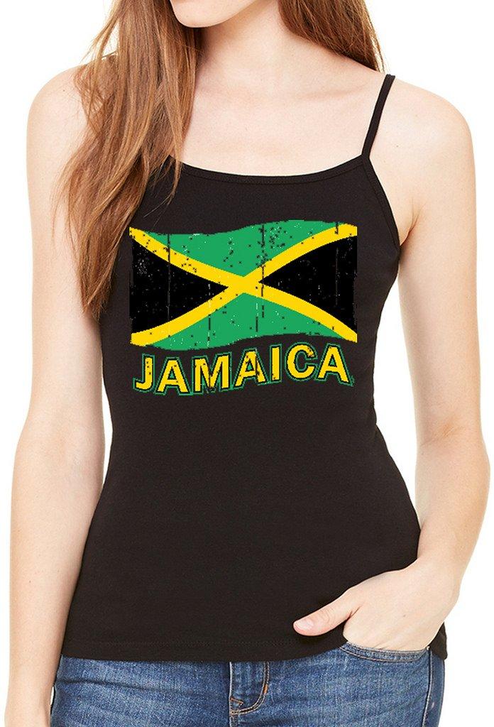 Interstate Apparel Inc Junior's Grunge Jamaica Flag Tee Black Spaghetti Strap T-Shirt Black