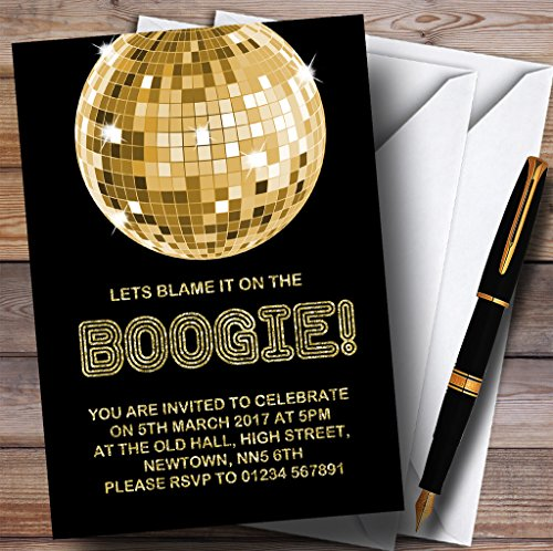 Gold Blame It On The Boogie Disco Childrens Birthday Party Invitations (Disco Ball Invitations)