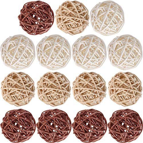 Yaomiao Wicker Rattan Balls Decorative Orbs Vase Fillers for Craft Project, Wedding Table Decoration, Themed Party, Baby Shower, Aromatherapy Accessories (Natural White Brown, 2 Inch) ()
