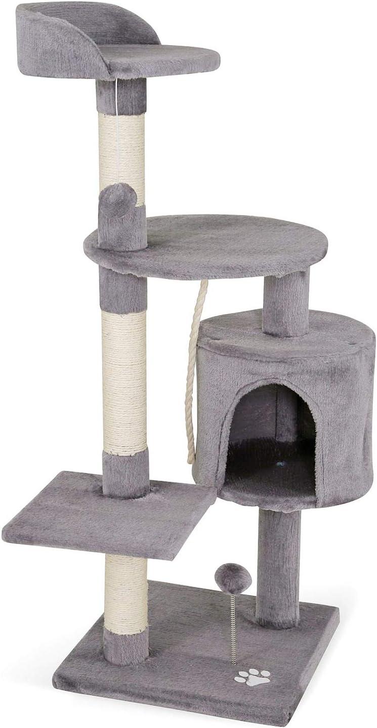 dibea Árbol rascador para Gatos, 112 cm (Gris Claro)
