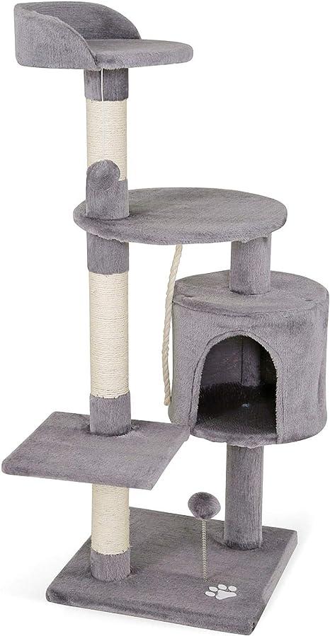 dibea Árbol rascador árbol para escalar árbol rascador para gatos Altura 112 cm Gris claro