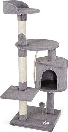 Dibea - Árbol rascador para gatos, 112 cm, Gris claro: Amazon.es ...