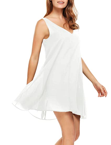 03e9b43d7be SE MIU Women V-Neck Sleeveless Loose Tank Summer Dress White L at Amazon  Women s Clothing store