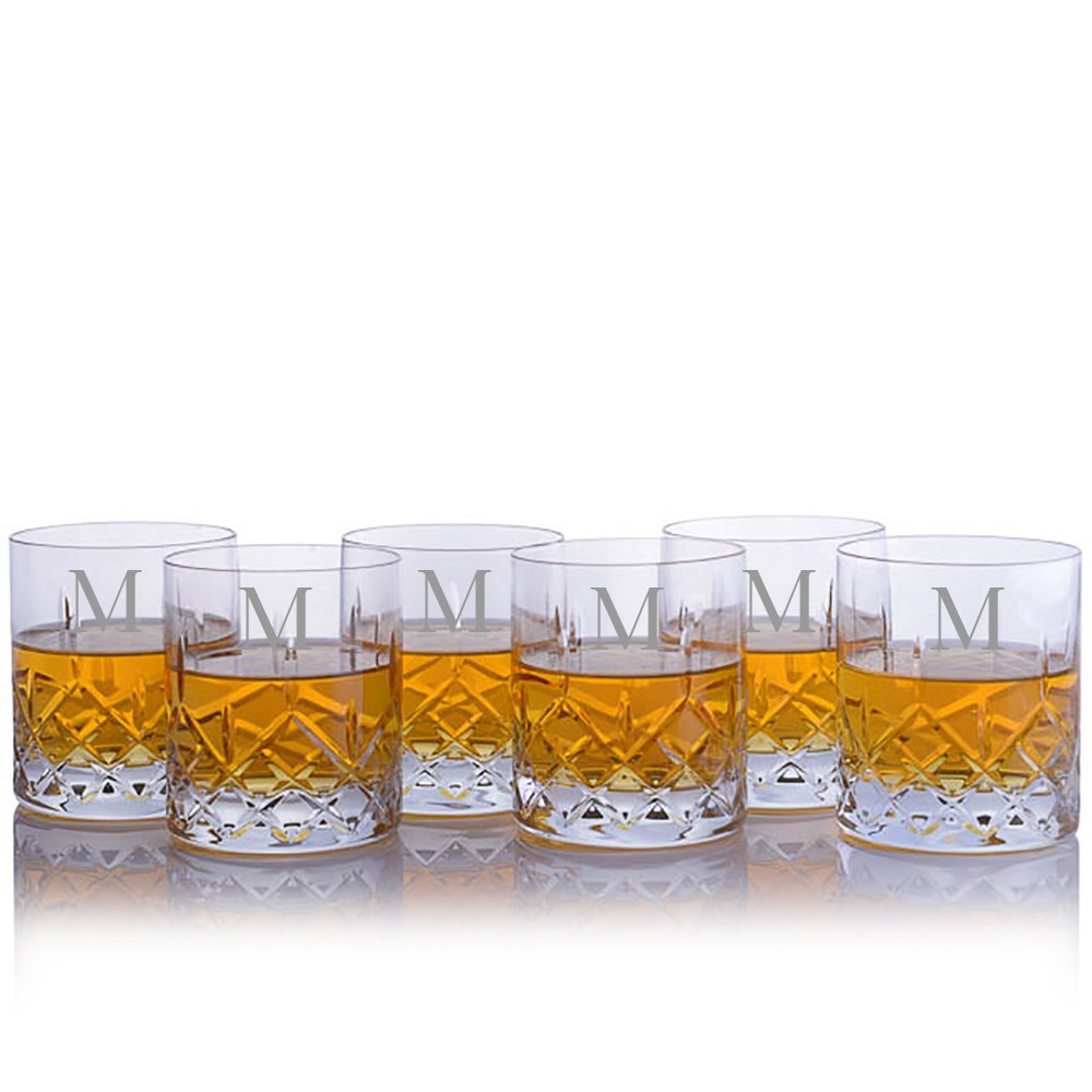 Personalized Crystalize Cut Crystal Whiskey Rocks DOF Glass w/Titanium 6pc. Set - Engraved & Monogrammed - Great for Groomsmen - Great Gift for Father's Day, Weddings and Groomsmen