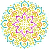 Stencils for Walls - Healing Mandala Stencil - 14 x 14 inch (L) - Reusable AUM Indian Buddhist Spiritual Stencils for Painting - Use on Paper Projects Walls Floors Fabric Furniture Glass Wood etc.