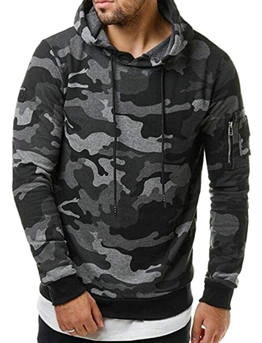 Hajotrawa Mens Camouflage Pullover Hooded Drawstring Sport Sweatshirts Top