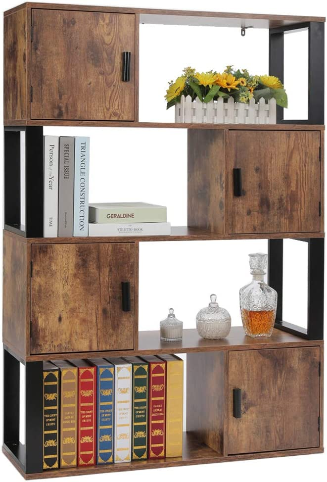4 Tier Bookshelf for Living Room usikey Bookcase with 4 Storage Cabinet Rustic Brown YSJX006X Office Storage Oraganizer with 4 Cube