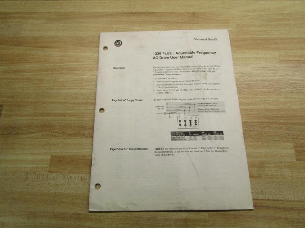 Allen Bradley 193375 (01) User Manual For 1336 Plus II: Amazon.com:  Industrial & Scientific