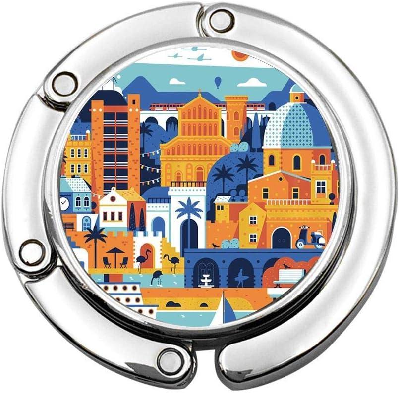 Coloridos edificios de puerto y flamenco personalizado plegable bolso bolso bolso bolso gancho titular