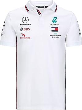 MAMGP 2020 - Camiseta Polo Oficial del Equipo Mercedes-AMG F1 para Hombre, Lewis Hamilton, Color Polo Blanco, tamaño Hombre (L) Pecho 104-108 cm: Amazon.es: Deportes y aire libre