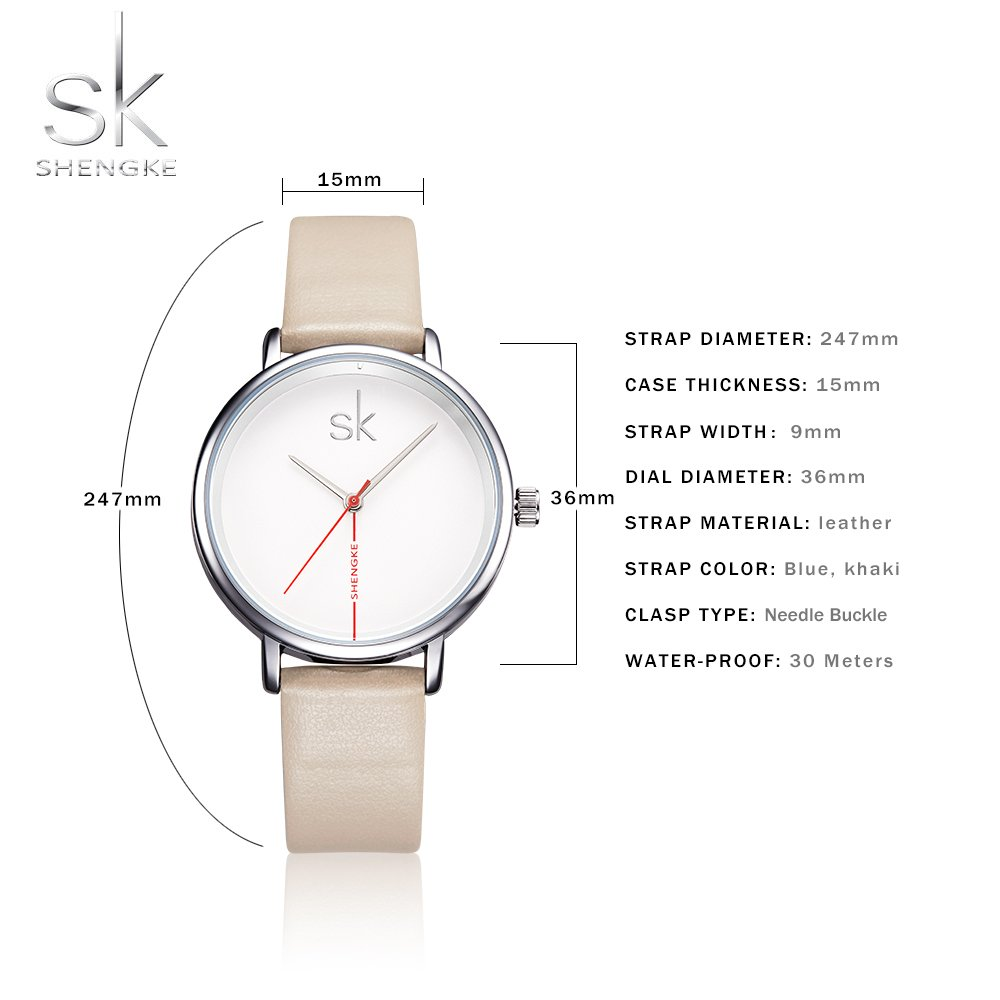 Amazon.com: Shengke Fashion Black Women Watches 2017 Ultra Thin Quartz Watch Woman Elegant Dress Ladies Watch Montre Femme SK (Silver case&Brown Strap): ...