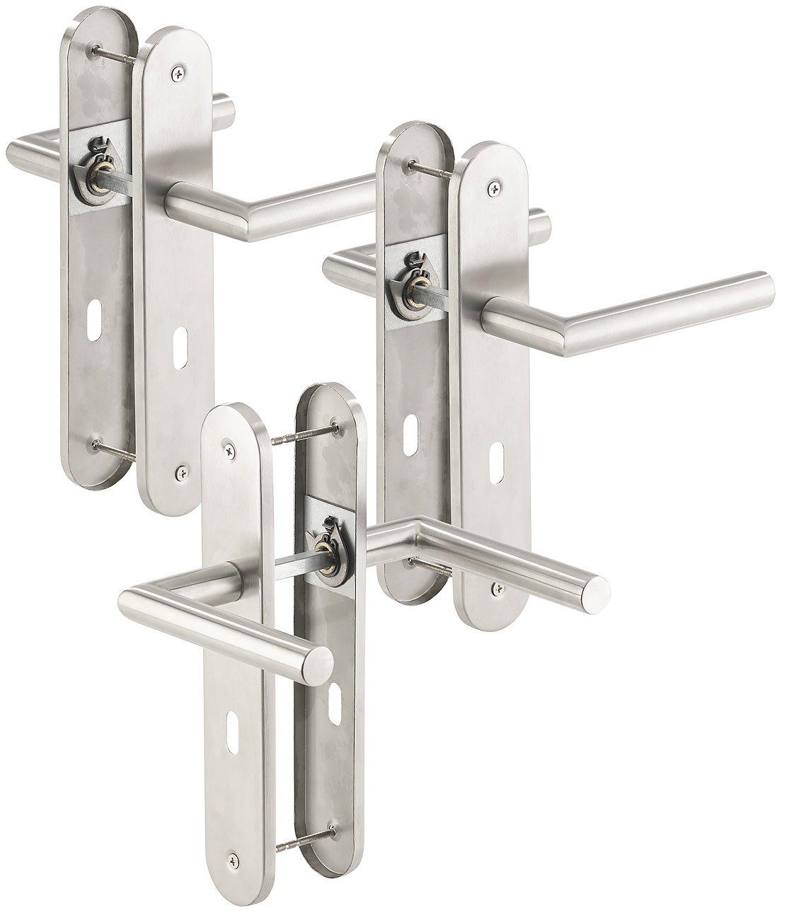 T/ür-Beschl/äge AGT T/ürgriffe 6 T/ürklinken /& 6 Langschilder 3er-Set Moderne Edelstahl-T/ürbeschl/äge