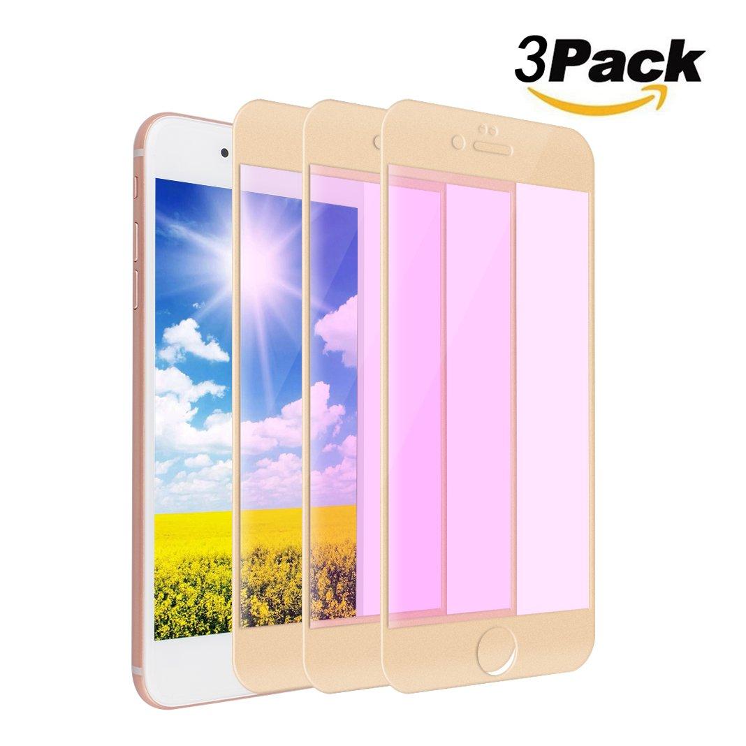 [ 3パック] Iphone 7 plusスクリーンプロテクター強化ガラス、ピンクリボン運動フルカバー傷防止bubble-freeクリア9h硬度ファイバーバイオレット強化ガラススクリーンプロテクターfor iPhone 7 Plus iPhone 7 Plus KUN2017060336 iPhone 7 Plus 3 Pack-Gold B072JW9T6Q
