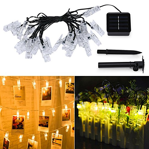 Cross Wire String (20 LED Photo Clips String Lights for Bedroom, Solar Powered Waterproof Fairy Twinkle Lights, Wedding Party Home Decor Lights for Hanging Photos, Pictures, Cards and Artwork Outdoor Indoor - Warm White)