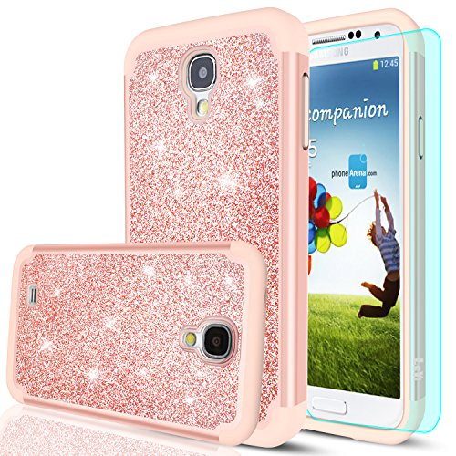 S4 Case,Galaxy S4 Case with HD Screen Protector,LeYi Glitter Bling Girls Women Design [PC Silicone Leather] Dual Layer Hybrid Heavy Duty Protective Phone Case Cover for Samsung Galaxy S4 TP Rose Gold