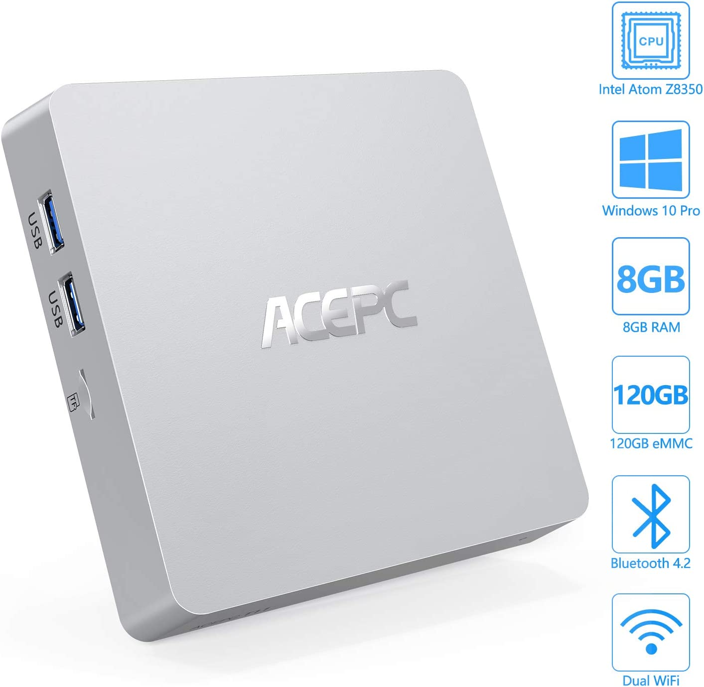 Mini PC, ACEPC Windows 10 Pro Fanless Mini Computer Intel Atom Z8350 8GB DDR3/120GB eMMC Desktop Computer Support 4K HD, HDMI+VGA Output, 2.4G/5G WiFi, Bluetooth, Gigabit Ethernet