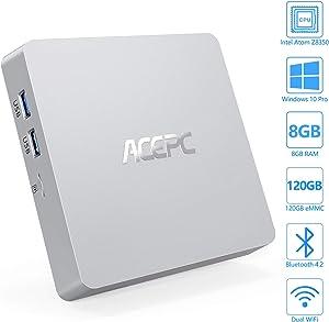 Mini PC, ACEPC Windows 10 Pro Fanless Mini Computer Intel Atom Z8350 8GB DDR3/120GB eMMC Desktop Computer Support 4K HD, HDMI+VGA Output, 2.4G/5G WiFi, Bluetooth, Gigabit Ethernet