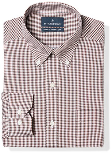 BUTTONED DOWN Men's Tailored Fit Button-Collar Pattern Non-Iron Dress Shirt, Brown Gingham, 18.5