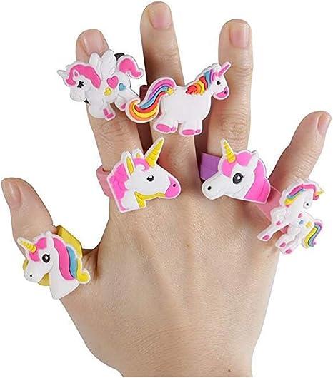 Heyuni.Rainbow Unicorn Anillos de Juguete – Pack de 25 Anillos de ...