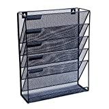 Wall Hanging File Organizer- Premium Metal Storage File Folders, 5 Slot Document Storage Office Holder- By Jungle Heights Co