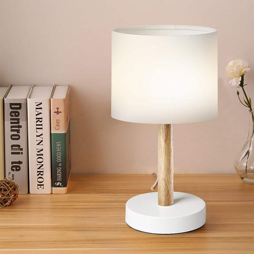 618edfcfd516 Viugreum Bedside Table Lamp, Simple Solid Wood Desk Lamp, Round Lampshade  Led Wooden Lamp for Bedroom Living Room Coffee Table - White (Bulb  Included) ...